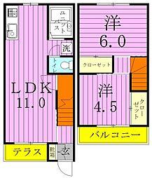 [テラスハウス] 埼玉県三郷市戸ケ崎4丁目 の賃貸【/】の間取り