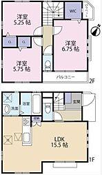 西武新宿線 新井薬師前駅 徒歩5分の賃貸一戸建て 3LDKの間取り