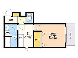 メゾンクレール南福岡 2階1Kの間取り