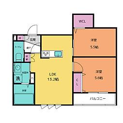 仮称)中央区平尾3丁目ヘーベルメゾン ペット共同棟 2階2LDKの間取り