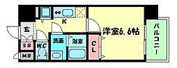 プレサンス京町堀ノース 2階1Kの間取り