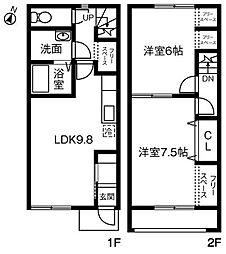 Maison de Sray II(メゾンドサライ)C[102号室]の間取り