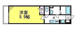 JR中央線 東小金井駅 徒歩10分の賃貸マンション 1階1Kの間取り
