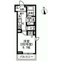 東急世田谷線 下高井戸駅 徒歩5分の賃貸マンション 2階1Kの間取り