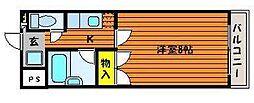 岡山県岡山市北区奉還町4丁目の賃貸マンションの間取り