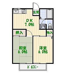 ヒロ大川I[2階]の間取り