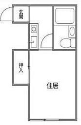 東京都目黒区中目黒4丁目の賃貸アパートの間取り
