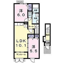 ローレルNS Ⅴ[2階]の間取り