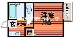 岡山県岡山市中区中井1丁目の賃貸アパートの間取り