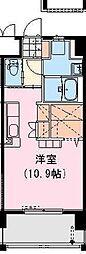 クロスワイズ神宮外苑ウエスト 4階ワンルームの間取り