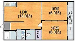 大阪府大阪市平野区加美正覚寺3丁目の賃貸アパートの間取り