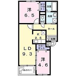 神奈川県海老名市東柏ケ谷1丁目の賃貸アパートの間取り