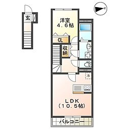 JR山陽本線 姫路駅 バス16分 四軒屋停下車 徒歩3分の賃貸アパート 2階1LDKの間取り