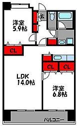 リジェール箱崎[4階]の間取り