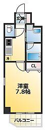 ファーストフィオーレ大阪ウエスト 7階1Kの間取り