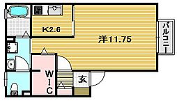 レシェンテ茨木G棟[2階]の間取り