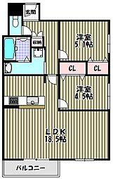 朝日プラザ堺東II[10階]の間取り