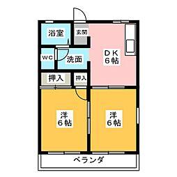 フローラFUJI B[2階]の間取り
