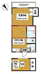 神奈川県横浜市鶴見区北寺尾5丁目の賃貸アパートの間取り