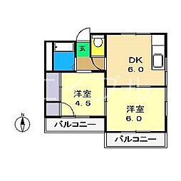 ハイツサンルート[4階]の間取り