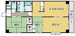 大阪府茨木市沢良宜浜2丁目の賃貸マンションの間取り