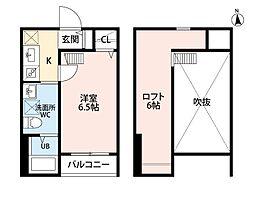 福岡県北九州市小倉北区竪町1丁目の賃貸アパートの間取り