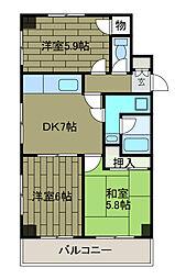 神奈川県相模原市中央区矢部1丁目の賃貸マンションの間取り