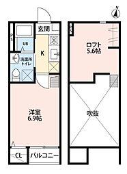 JR東北本線 東仙台駅 徒歩11分の賃貸アパート 2階1Kの間取り