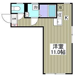 ルナーリア 4階ワンルームの間取り
