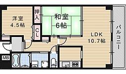 グランディール阪南町[406号室]の間取り