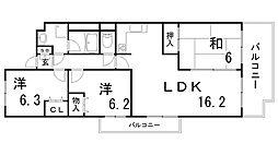 兵庫県神戸市北区大脇台の賃貸マンションの間取り