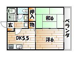 福岡県北九州市小倉北区中井口の賃貸アパートの間取り