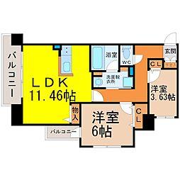 Kamiya Bldg東桜[602号室]の間取り
