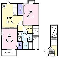 サンキエーム宮本[2階]の間取り