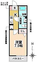 愛知県名古屋市瑞穂区本願寺町1丁目の賃貸アパートの間取り