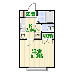 埼玉県八潮市大原の賃貸アパートの間取り