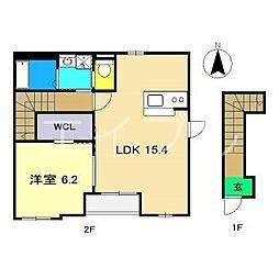 (仮)一宮中町1丁目新築アパート 2階1LDKの間取り