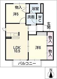 コ−ポアメニティA棟[2階]の間取り