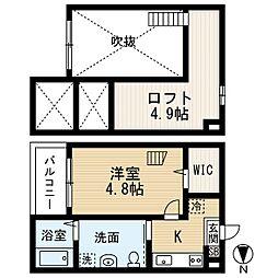 愛知県名古屋市西区香呑町6丁目の賃貸アパートの間取り