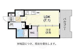阪神本線 春日野道駅 徒歩6分の賃貸マンション 5階1DKの間取り