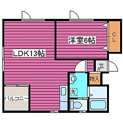 JR学園都市線 石狩当別駅 徒歩8分の賃貸アパート 3階1LDKの間取り