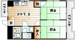 福岡県北九州市八幡東区上本町1の賃貸アパートの間取り