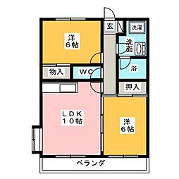 ビーデル中平[2階]の間取り