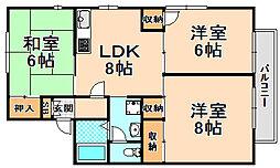 兵庫県伊丹市稲野町8丁目の賃貸アパートの間取り