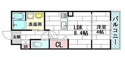 プライムコート豊津[3階]の間取り