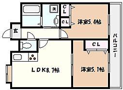 兵庫県芦屋市竹園町の賃貸マンションの間取り