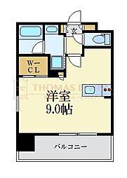 LANDIC 美野島3丁目 14階ワンルームの間取り