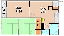 福岡県福岡市博多区大井2丁目の賃貸マンションの間取り