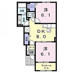 香川県観音寺市南町4丁目の賃貸アパートの間取り
