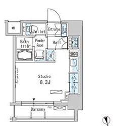 パークアクシス上野 8階ワンルームの間取り